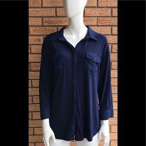 Torrid Navy Blue Long Sleeve Button Down Sheer E3